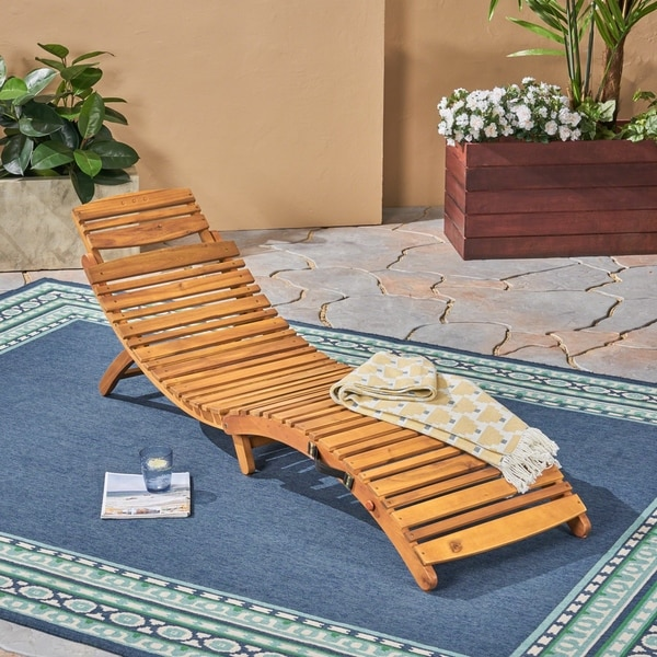 Lahaina Outdoor Acacia Wood Chaise Lounge by Christopher Knight Home