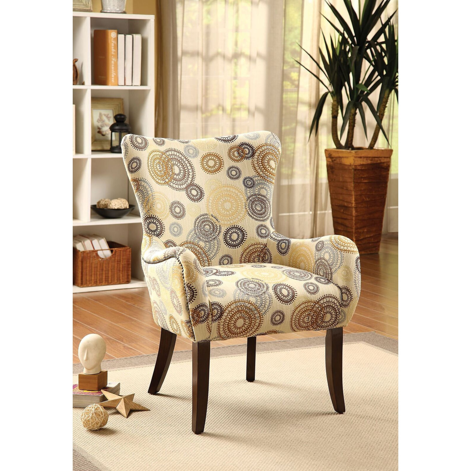 ACME Gabir Accent Chair, Beige Off-White (Fabric)