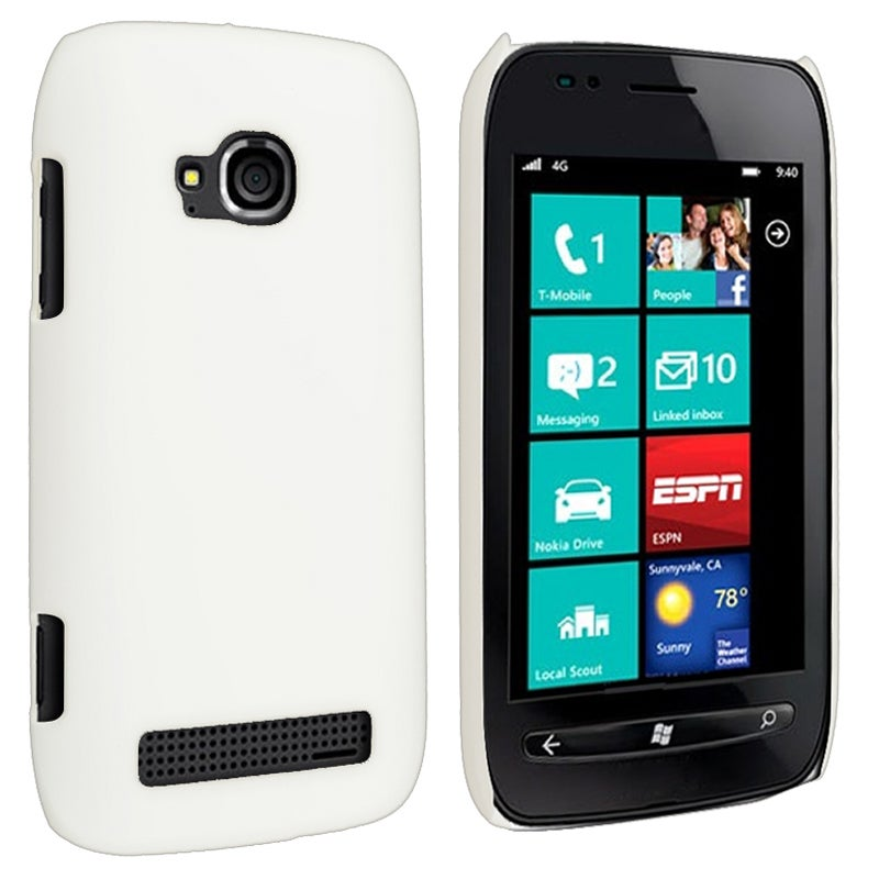 White Rear Snap-on Rubber Coated Case for Nokia Lumia 710