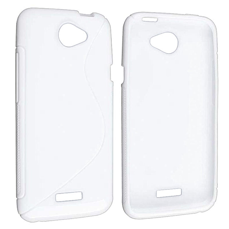 White S Shape TPU Rubber Skin Case for HTC One X