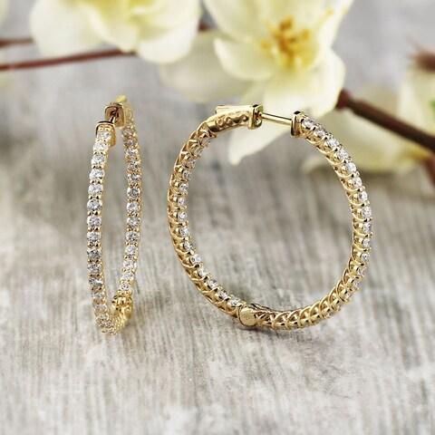 14k Gold 3-3/4ct TDW Trellis Style Diamond Hoop Earrings