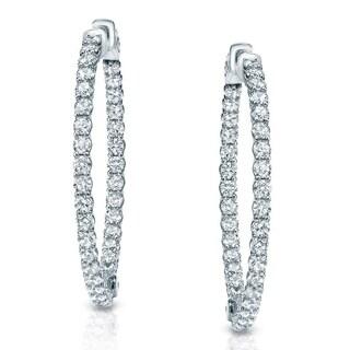 14k Gold 3 3/4 ct TDW Trellis Style Diamond Hoop Earrings