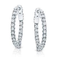 14k Gold 1 3/4 ct TDW Trellis Style Diamond Hoop Earrings