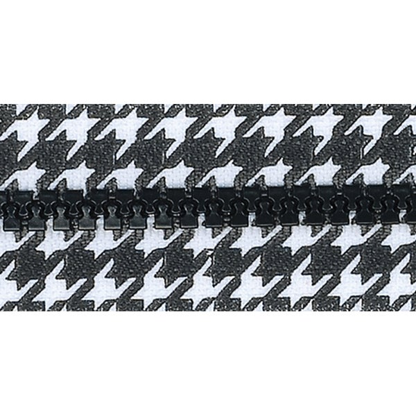 "Fashion Black & White Separating Zipper 24""-Houndstooth"