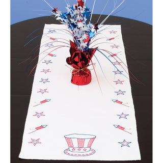 """Stamped Table Runner/Scarf 15""""X42""""-Independence Day"""