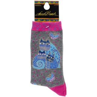 Laurel Burch Socks-Indigo Cat