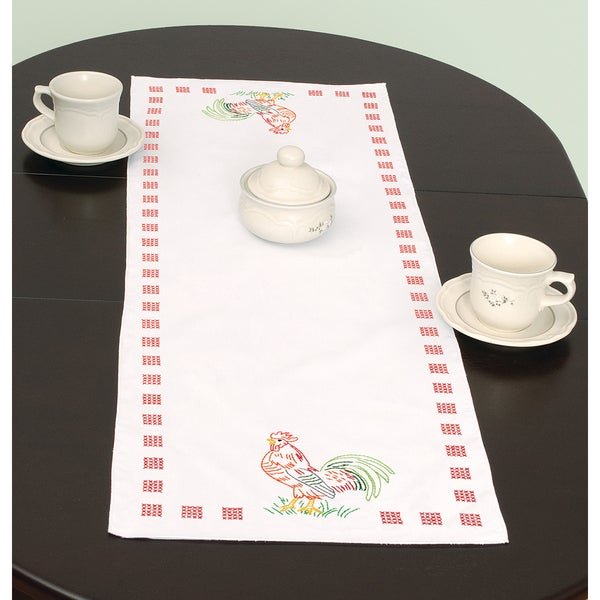 "Stamped Table Runner/Scarf 15""X42""-Rooster"