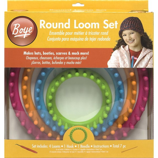Boye Round Plastic Loom Knitting Set with Four Looms, Hook, and Needle