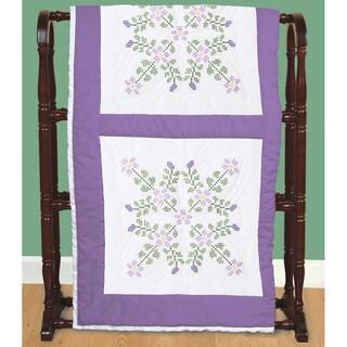 """Stamped White Quilt Blocks 18""""X18"""" 6/Pkg-Starflowers"""
