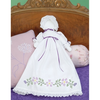 Stamped White Pillowcase Doll Kit-Starflowers