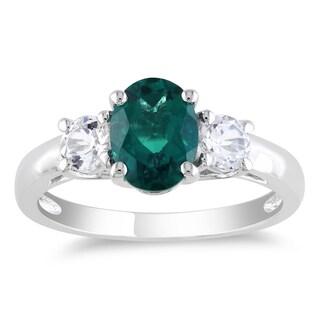 Miadora Silver 1 5/8 ct TGW Created Emerald and White Sapphire Ring