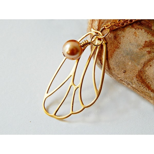 Adrienne Audrey Jewelry Gold Butterfly Necklace with Bronze Pearl