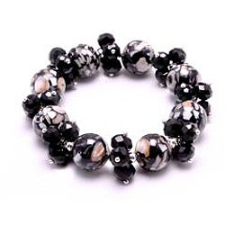 Black Mosaic Marble Stretch Crystal Bracelet - Thumbnail 1