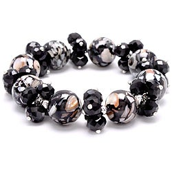 Black Mosaic Marble Stretch Crystal Bracelet