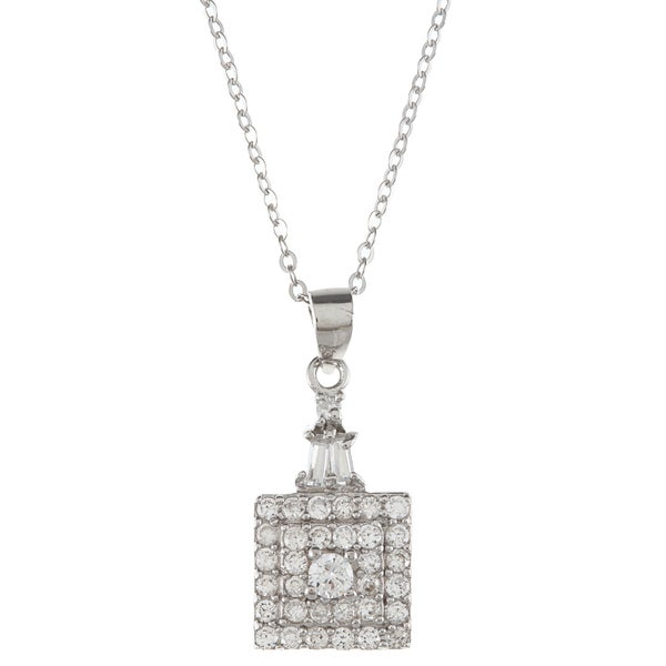 La Preciosa Sterling Silver Cubic Zirconia Square Necklace