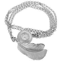 Geneva Platinum Women's Silvertone Leaf Necklace Watch