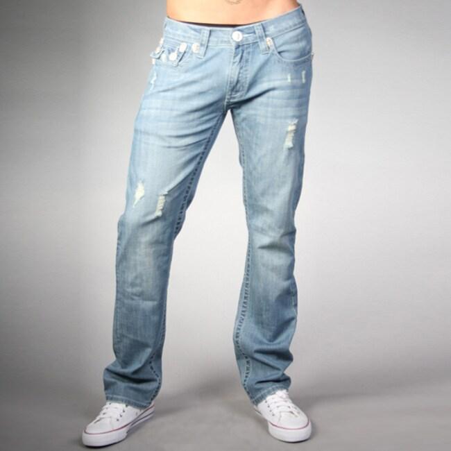 Laguna Beach Jean Co. Men's Powder Blue Skull Pocket Slim Jeans