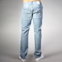 Laguna Beach Jean Co. Men's Powder Blue Skull Pocket Slim Jeans - Thumbnail 1
