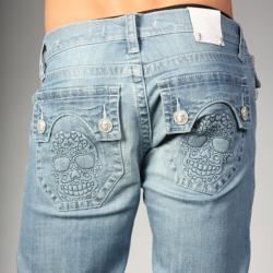 Laguna Beach Jean Co. Men's Powder Blue Skull Pocket Slim Jeans - Thumbnail 2