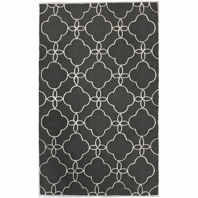 nuLOOM Handmade Indoor / Outdoor Lattice Trellis Charcoal Rug (6' x 9')