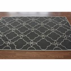 nuLOOM Handmade Indoor / Outdoor Lattice Trellis Charcoal Rug (6' x 9') - Thumbnail 1