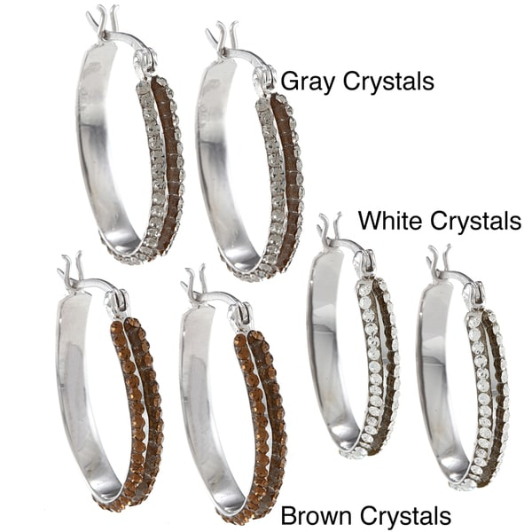 La Preciosa Sterling Silver Crystal Oval Double Row Hoop Earrings
