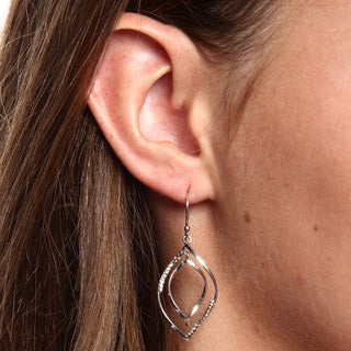 La Preciosa Sterling Silver Colored Crystal Open Marquise Earrings