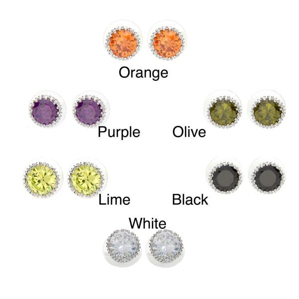 Nexte Jewelry Dangle Cubic Zirconia Rhodium-overlay Stud Earrings