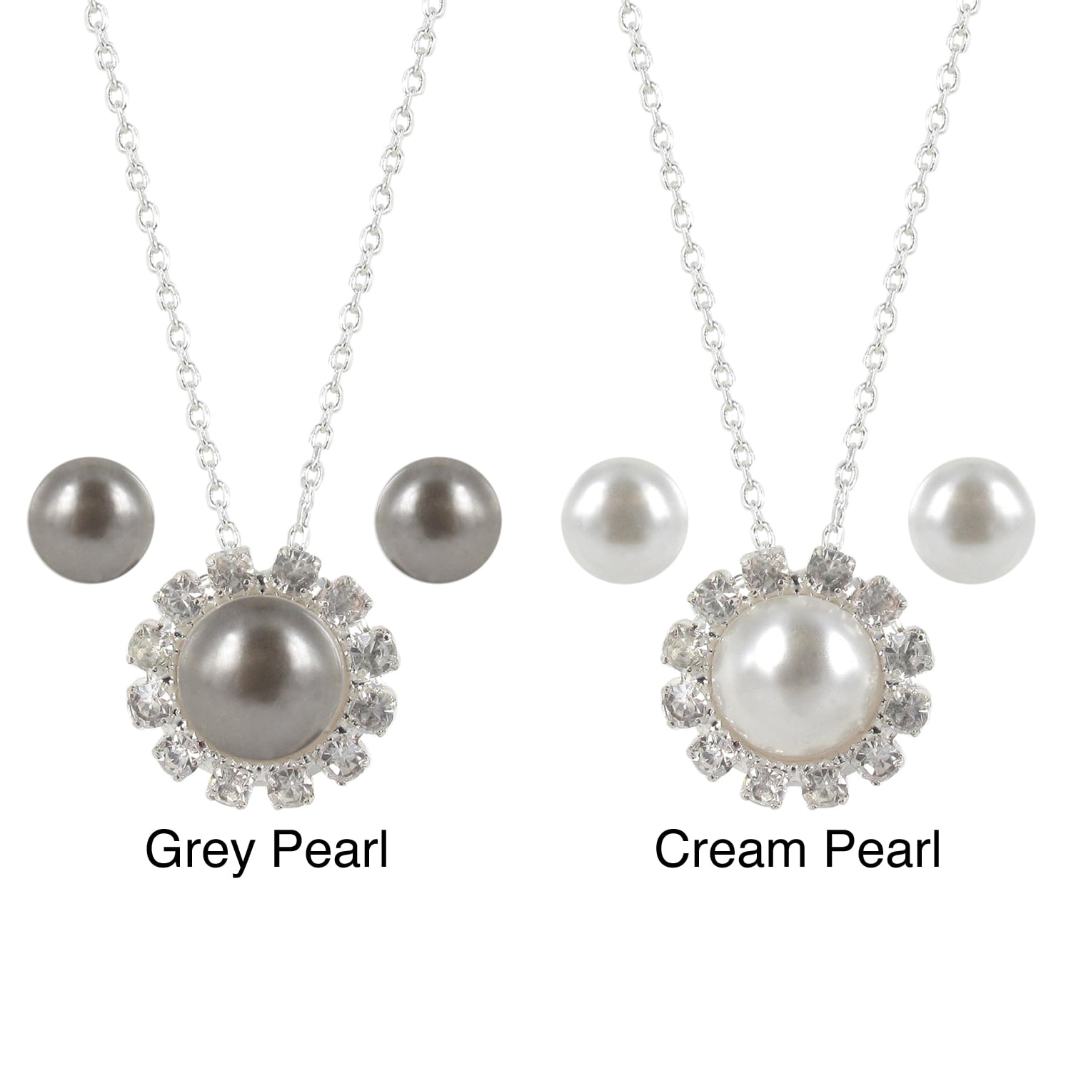 Roman Faux Pearl and Crystal Faceted Pendant Necklace and Earring Set