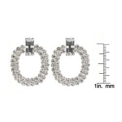 Roman Silvertone Clear Crystal Doorknocker Dangle Earrings