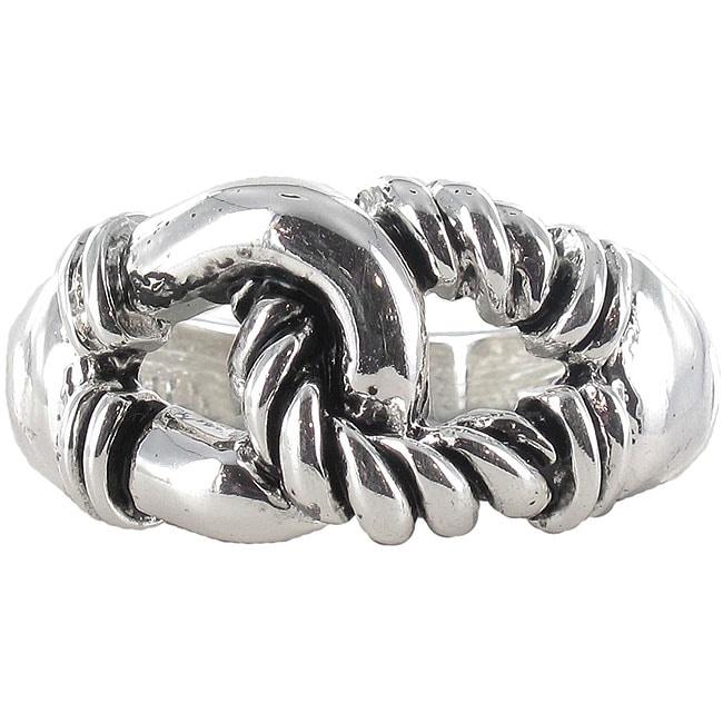 Roman Silvertone Interlocking Loop Artisan Stretch Ring