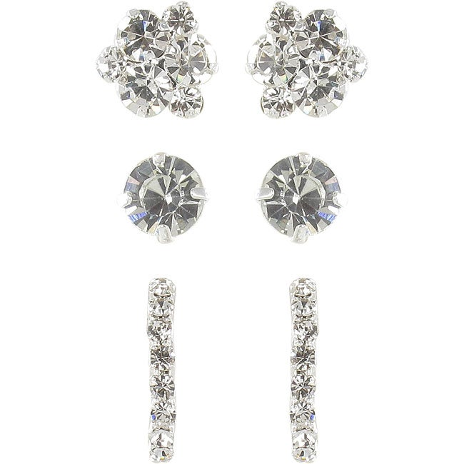 Roman Crystal Faceted Silvertone Earring Trio Set