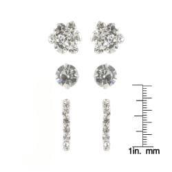 Roman Crystal Faceted Silvertone Earring Trio Set - Thumbnail 2