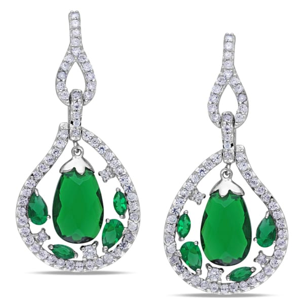 Miadora Sterling Silver Green Glass and Cubic Zirconia Dangle Earrings