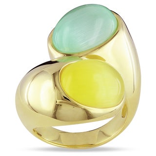 Catherine Catherine Malandrino Yellow Rhodium-plated Sliver Green and Yellow Simulated Cat Eye Ring