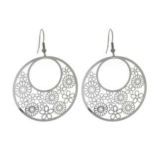 Nexte Jewelry Stainless Steel Three Quarter Moon Design Dangle Earrings