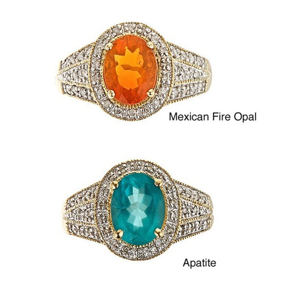 D'Yach 14k Yellow gold Fire Opal/Apatite and 1/5ct TDW Diamonds Ring