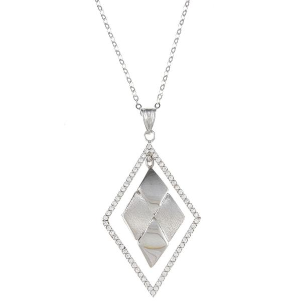 La Preciosa Sterling Silver CZ Open Diamond-shaped Necklace