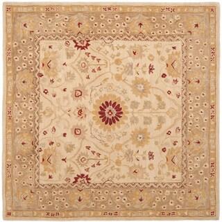 Safavieh Handmade Anatolia Oriental Timeless Ivory/ Sand Hand-spun Wool Rug (6' Square)