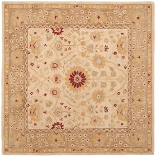 Safavieh Handmade Anatolia Oriental Timeless Ivory/ Sand Hand-spun Wool Rug (8' Square)