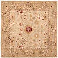 Safavieh Handmade Anatolia Oriental Timeless Ivory/ Sand Hand-spun Wool Rug (8' Square) - 8' Square