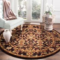 Safavieh Handmade Treasured Dark Plum Wool Rug - 6' x 6' Round