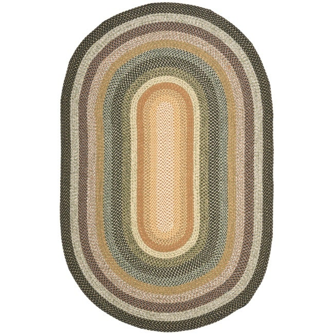 Safavieh Hand-woven Reversible Blue/ Green Braided Rug (9' x 12' Oval)