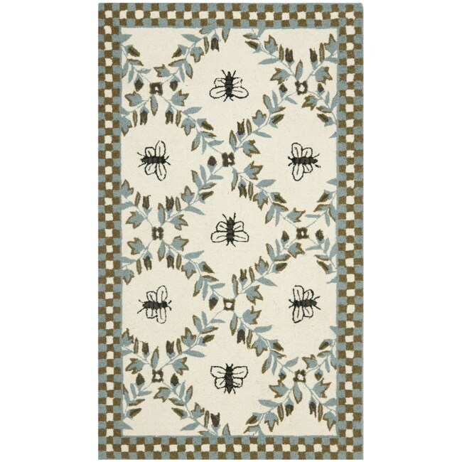 Safavieh Hand-hooked Bees Ivory/ Blue Wool Rug - 2'6 x 4'