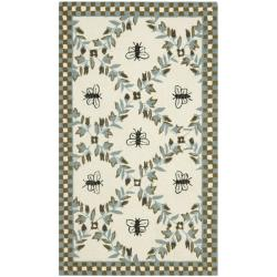 Safavieh Hand-hooked Bees Ivory/ Blue Wool Rug - 2'6 x 4' - Thumbnail 0