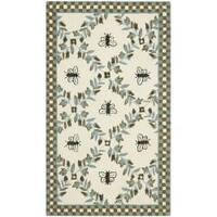 Safavieh Hand-hooked Bees Ivory/ Blue Wool Rug - 2'6 x 4'