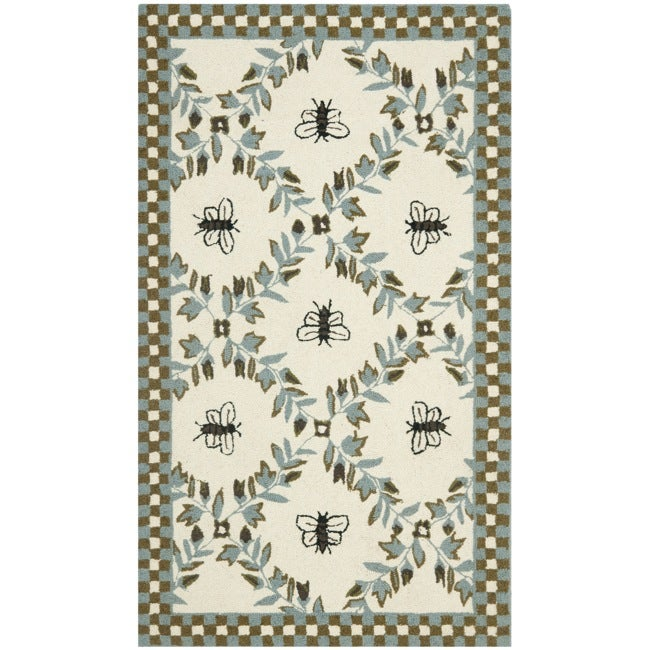 Safavieh Hand-hooked Bees Ivory/ Blue Wool Rug (2'9 x 4'9)