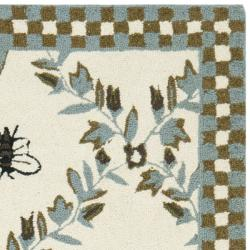 Safavieh Hand-hooked Bees Ivory/ Blue Wool Rug (2'9 x 4'9) - Thumbnail 1