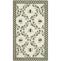 Safavieh Hand-hooked Bees Ivory/ Blue Wool Rug - 2'9 x 4'9