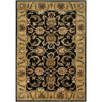 Safavieh Handmade Traditions Black/ Light Brown Wool Rug - 4' x 6'